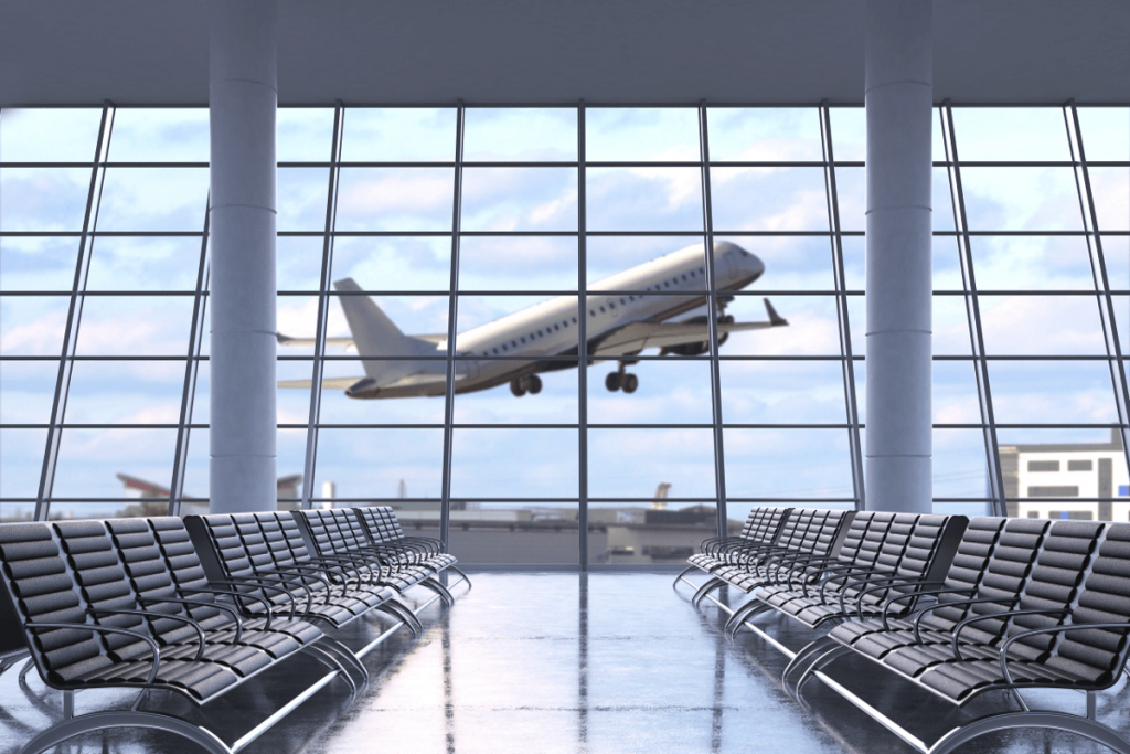 Airbus A320 hebt ab vom Flughafen.