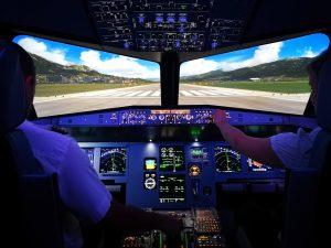 Auf der Startbahn im A320 Flugsimulator.