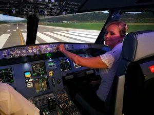 Bereit zum Start im A320 Flugsimulator.